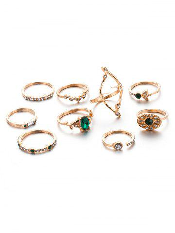 9PCS Artificial Emerald Rhinestone Rings