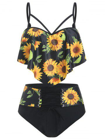 Sunflower Overlay Push Up Tankini Swimsuit