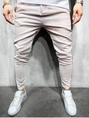 Plaid Print Color Spliced Casual Pants