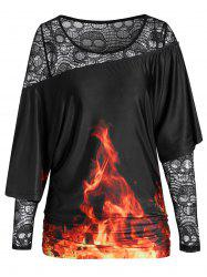 Hollow Out T Shirt with Ruched Cape -