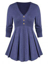 Long Sleeve Button Pleated T Shirt -