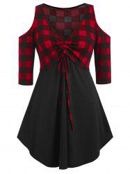 Plus Size Cold Shoulder Checked Panel Tunic T Shirt -