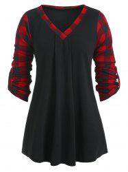 Plus Size V Neck Roll Up Sleeve Plaid Tunic T-shirt -