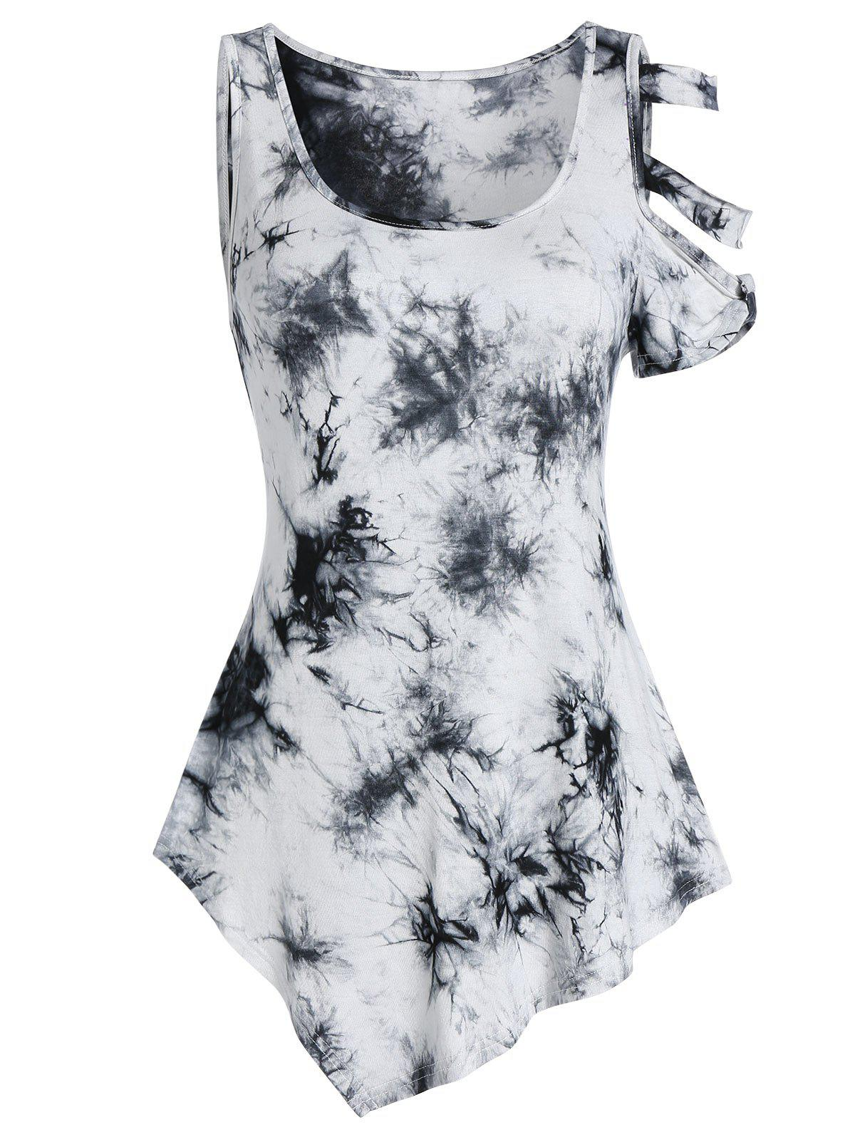 Cheap Asymmetrical Tie Dye Open Shoulder Tee