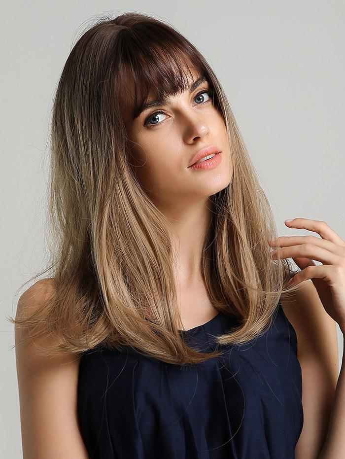 Unique Human Hair See-through Bang Ombre Straight Long Wig