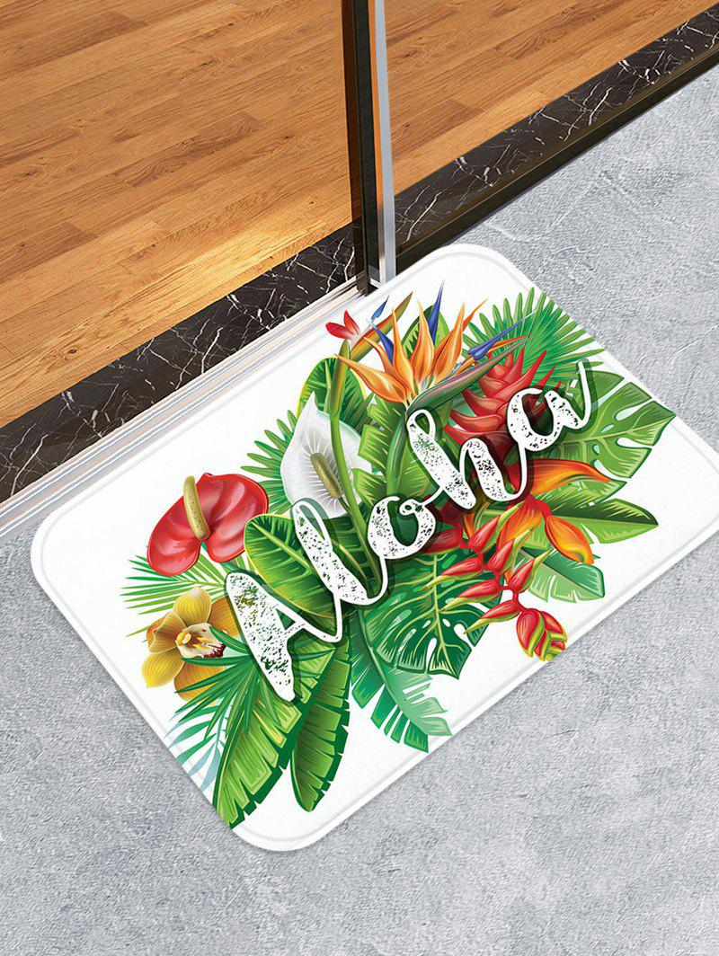 Trendy Aloha Tropical Leaf Pattern Water Absorption Area Rug