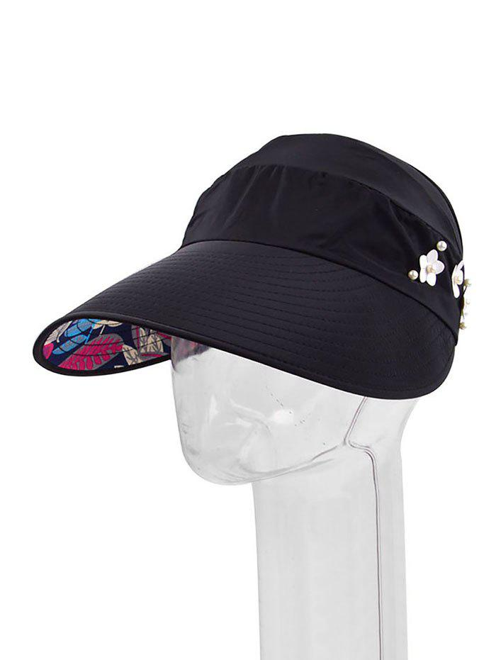 Outfits Flower Faux Pearl Folding Visor Cap