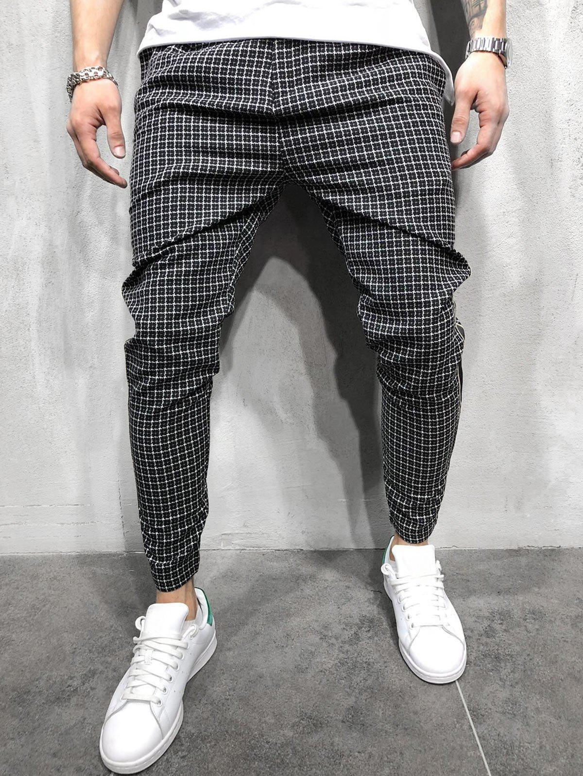 Outfit Plaid Print Color Spliced Casual Pants