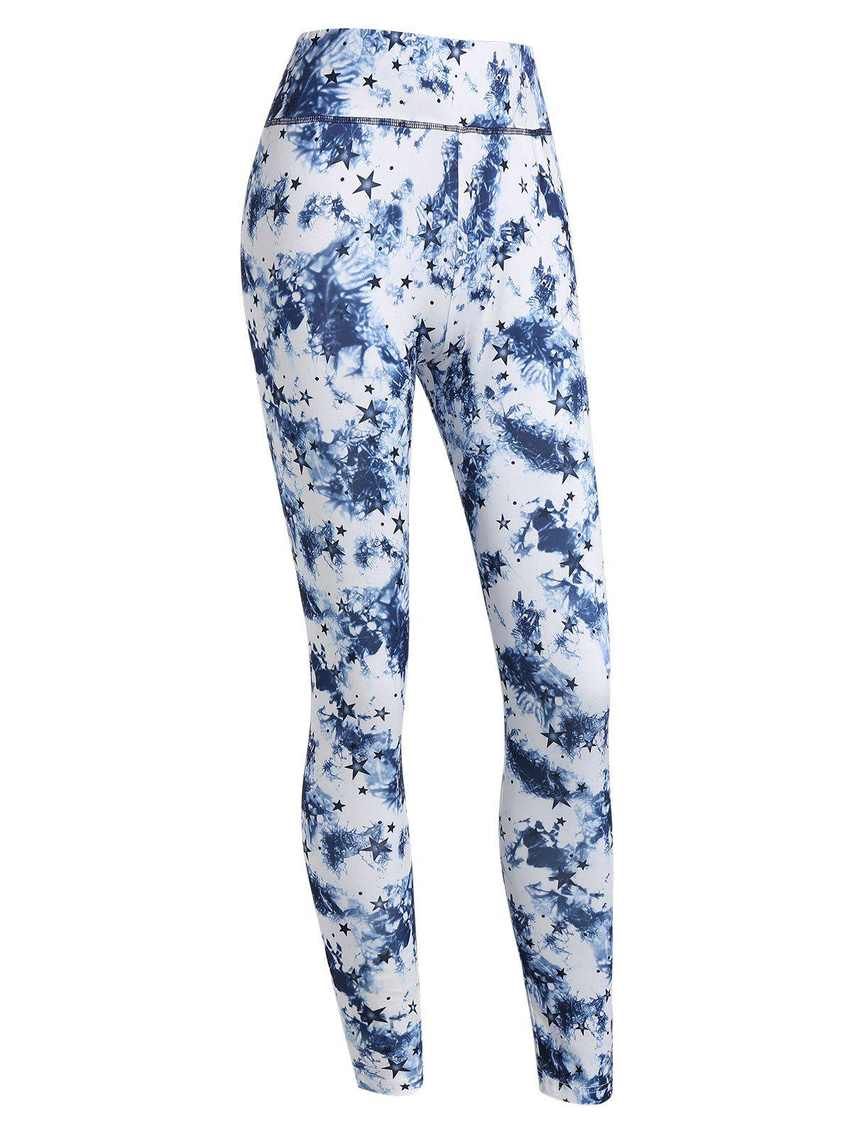 Unique High Waisted Stars and Tie Dye Print Leggings