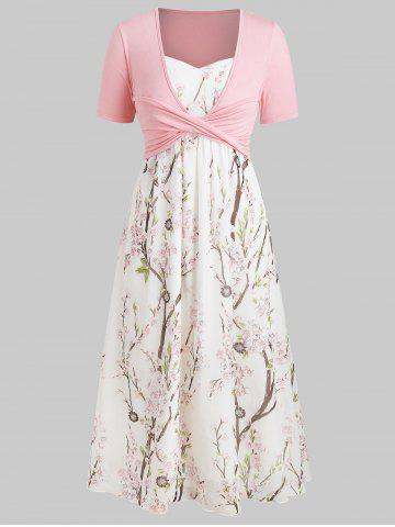 Plus Size Maxi Floral Dress With Criss Cross Top