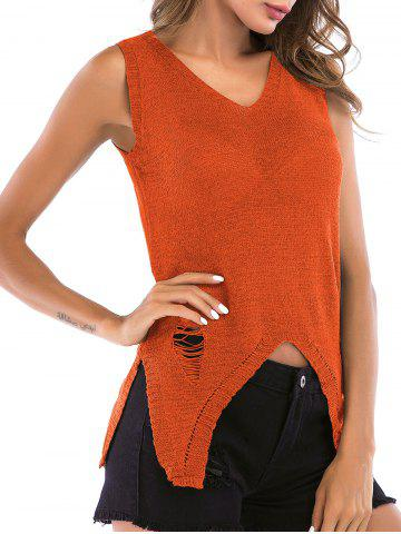 Distressed V Neck Asymmetrical Knitted Tank Top