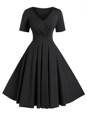 Plus Size A Line Solid V Neck Vintage Dress