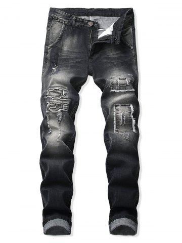 Ruffle Patchworks Decoration Casual Jeans
