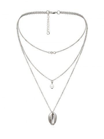 Faux Pearl Shell Pendant Multilayered Necklace
