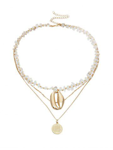 Beaded Shell Disc Multilayered Chain Necklace