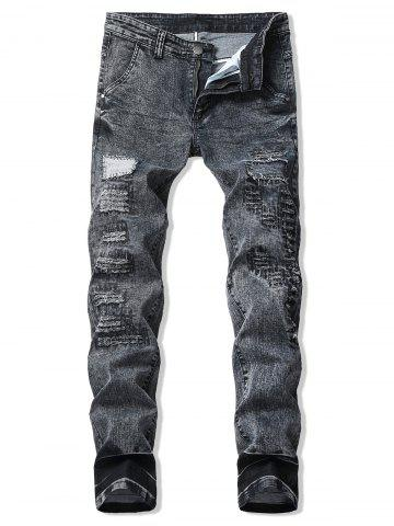 Patchworks Decoration Ripped Casual Jeans