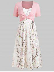 Plus Size Maxi Floral Dress With Criss Cross Top -