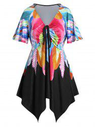 Plus Size Feather Print Asymmetric Handkerchief Cinched Tee -