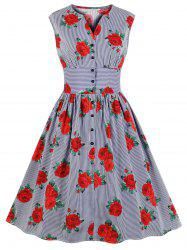 V Neck Floral Striped A Line Vintage Dress -