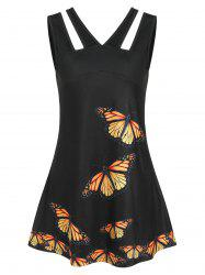 V Neck Butterfly Print Hollow Out Tank Top -