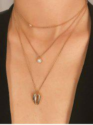 Faux Pearl Shell Pendant Multilayered Necklace -