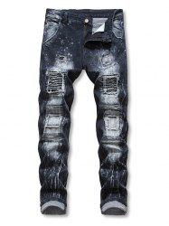 Patchworks Ruffle Decoration Casual Jeans -