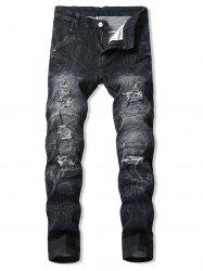 Casual Ruffle Ripped Design Jeans -