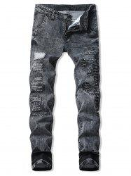 Patchworks Decoration Ripped Casual Jeans -