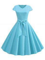 V Neck Fit and Flare Retro Dress -