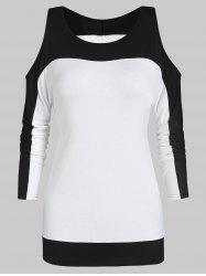 Two Tone Cold Shoulder Long Sleeve Tee -