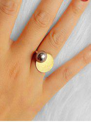 Round Faux Pearl Geometric Ring -