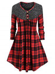Plus Size Plaid Curved Long Tunic Trapeze Tee -