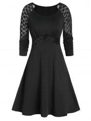 Long Sleeve Applique Fit And Flare Dress -
