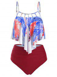 Feather Flounce Beading Embellished Tummy Control Tankini Swimwear -