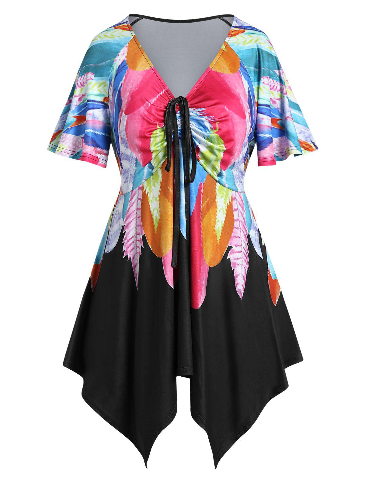 Trendy Plus Size Feather Print Asymmetric Handkerchief Cinched Tee