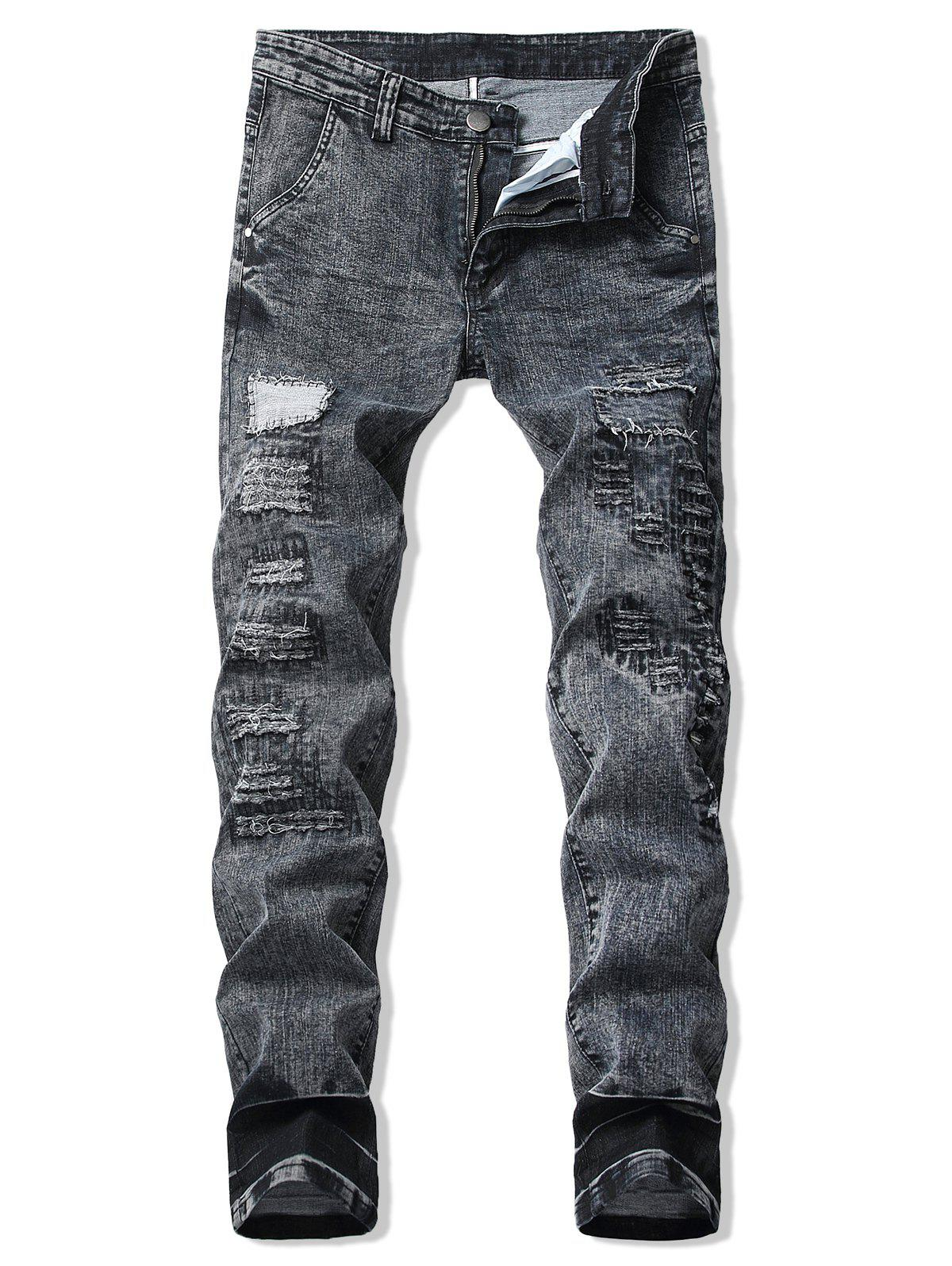 Sale Patchworks Decoration Ripped Casual Jeans