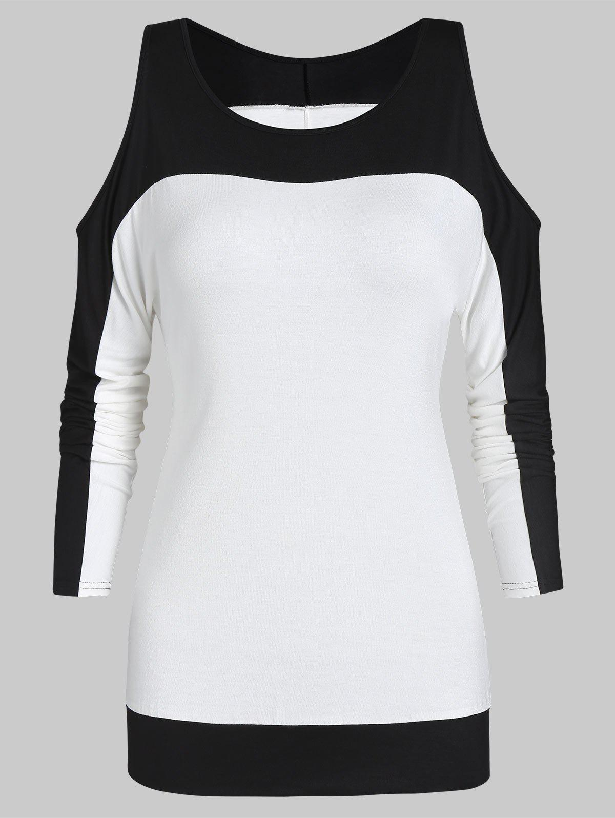 Shop Two Tone Cold Shoulder Long Sleeve Tee