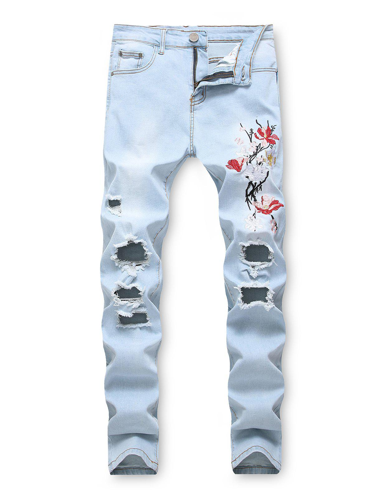 Trendy Floral Embroidery Destroyed Casual Jeans