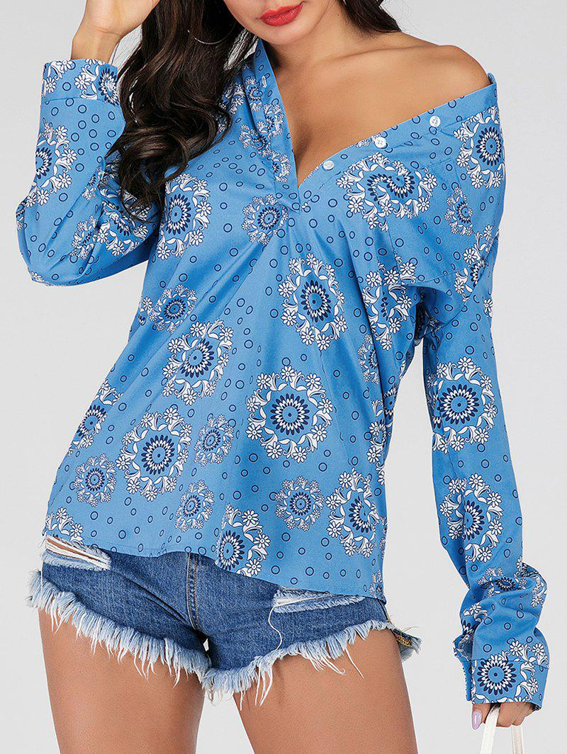 Discount Convertible Collar Floral Roll Tab Sleeves Blouse