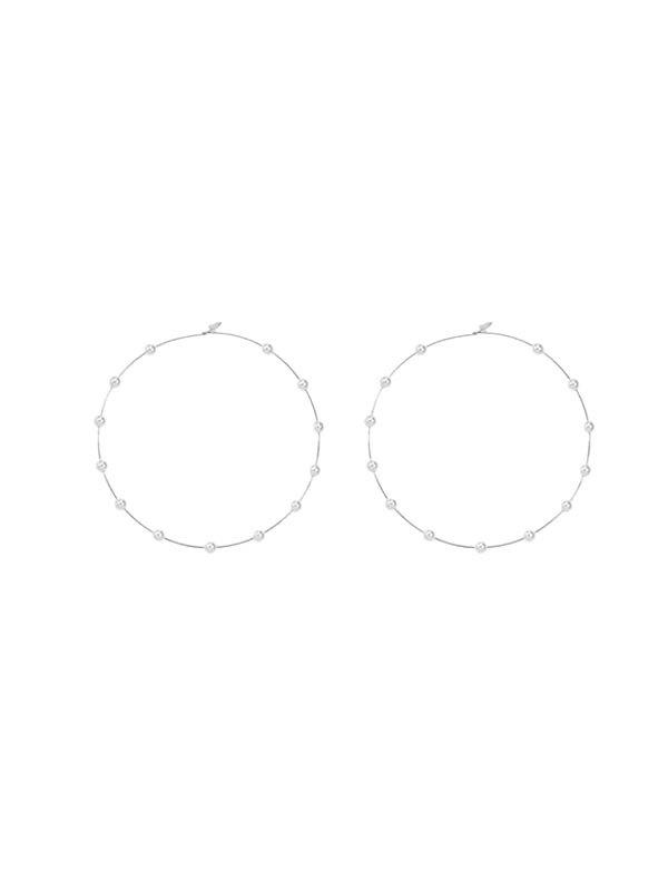 Outfits Faux Pearl Decor Hoop Earrings