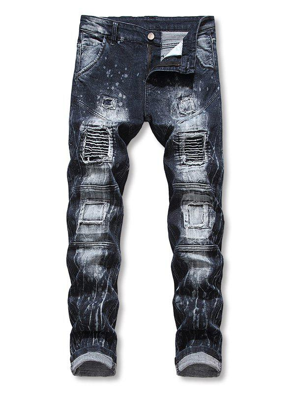 Online Patchworks Ruffle Decoration Casual Jeans