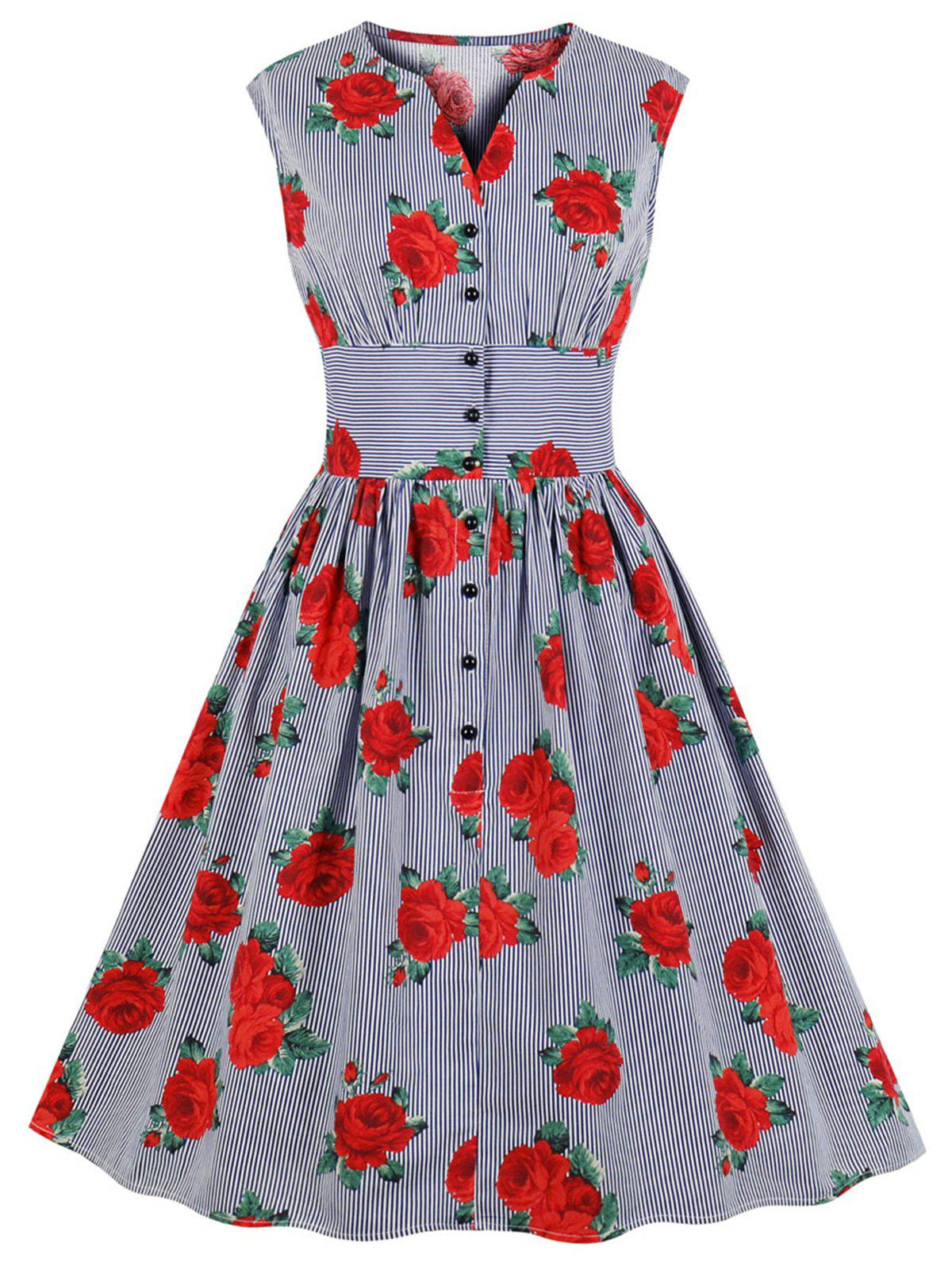 Store V Neck Floral Striped A Line Vintage Dress