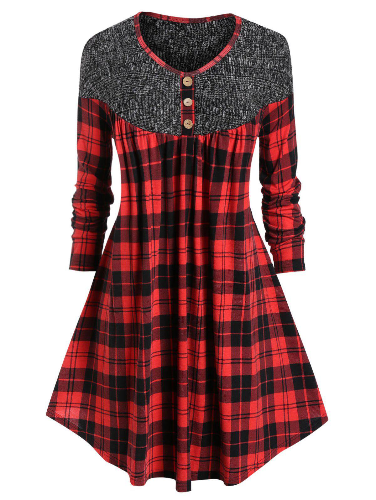 Online Plus Size Plaid Curved Long Tunic Trapeze Tee
