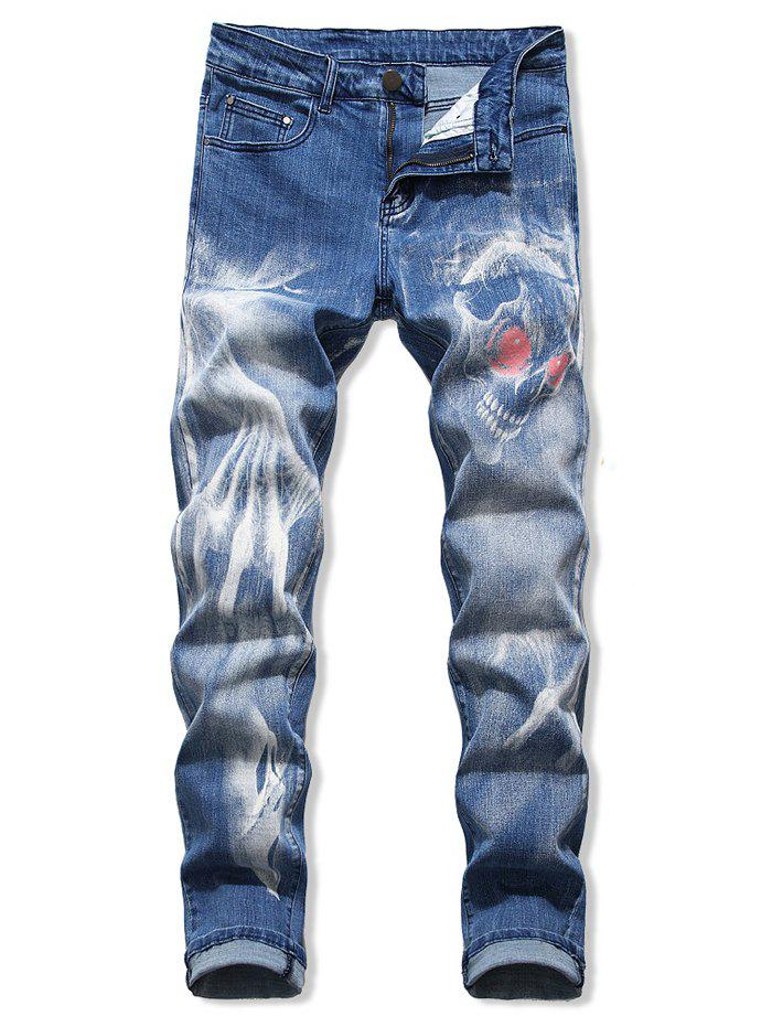 Shops Skull Print Zip Fly Cuffed Jeans