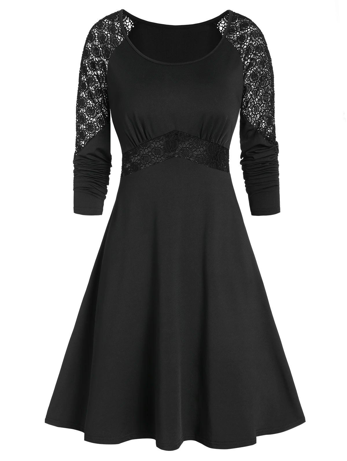 Best Long Sleeve Applique Fit And Flare Dress