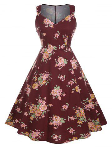 Plus Size Flower Print Midi Sweetheart Neck Retro Dress