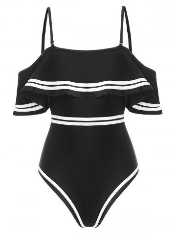 Contrast Piping Flounce Padded One-piece Swimsuit