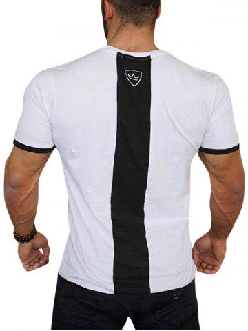 Crown Design Color Block Spliced Ringer T-shirt