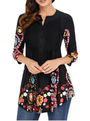 Pleated Placket Printed Tunic Top