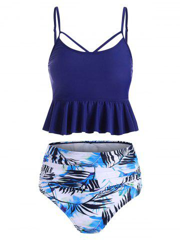 Leaf Print Ruched Lace-up Tankini Swimsuit